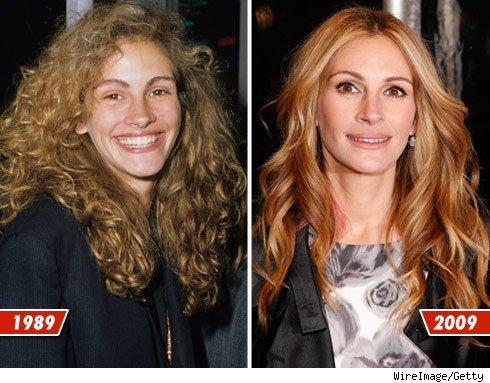 Julia Roberts before and after picture comparison - plastic surgery anyone? (image courtesy of http://www.tmz.com)